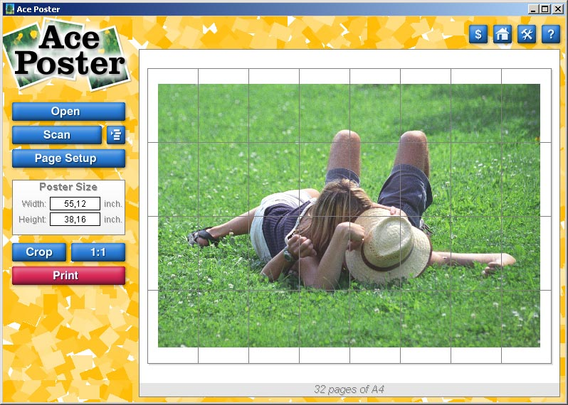 In this easy-to-use program you can make posters of any size from your photos.